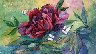 Paintings nature flowers leaves artwork watercolor peony butterflies Wallpaper