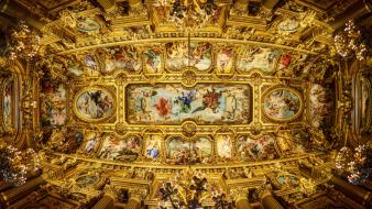 Paris paintings interior opera ceiling grand wallpaper
