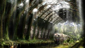 Post-apocalyptic trains wallpaper