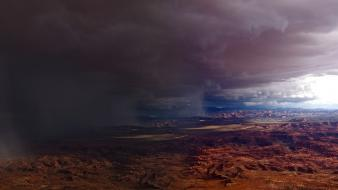 Rain storm utah skies canyonlands national park wallpaper