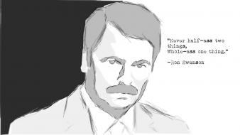 Recreation ron swanson tv shows monochrome quotes Wallpaper