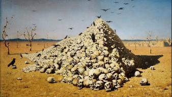 Skulls artwork vasily vereshchagin the apotheosis of war wallpaper