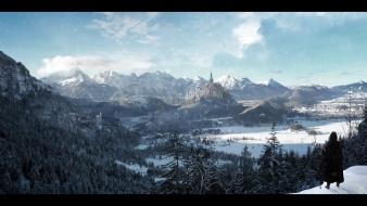 Snow castles game of thrones skies forest wallpaper