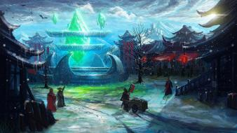 Snow fantasy art artwork villages Wallpaper