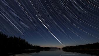 Stars long exposure lakes star trails forest wallpaper