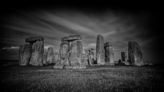Stonehenge aircraft bridges cities cloud wallpaper