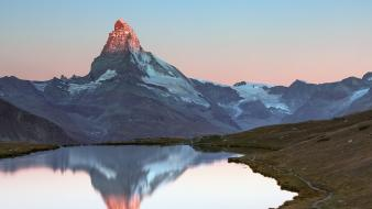 Sunrise mountains landscapes nature snow lakes matterhorn dawning wallpaper