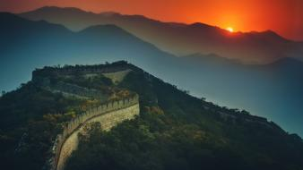Sunset china the great wall wallpaper