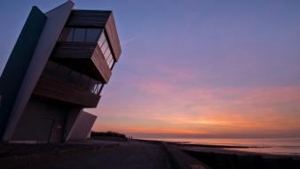 Sunset coast architecture buildings modern Wallpaper