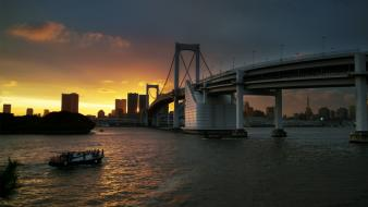 Sunset japan tokyo cityscapes bridges tower rainbow bridge wallpaper