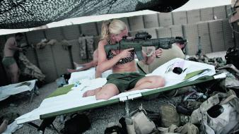 Swedish girls nato sverige isaf ak5 taliban wallpaper