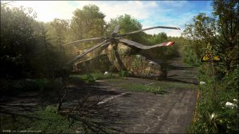 Trees helicopters crash wallpaper