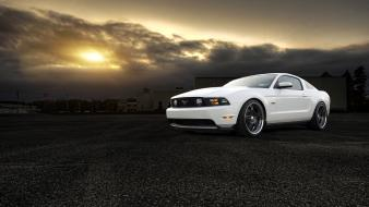 White cars ford mustang front angle view wallpaper