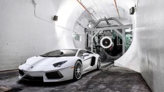 White lamborghini aventador wind tunnel Wallpaper