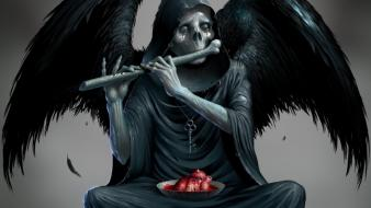 Wings death skeletons sitting hearts keys playing music wallpaper