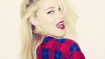 Blondes amber heard checkered clothing Wallpaper