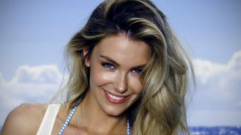 Blondes women jennifer hawkins smiling faces blue skies wallpaper