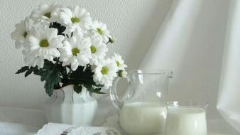 Flowers milk wallpaper