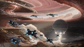 Jupiter fantasy art spaceships assault wallpaper