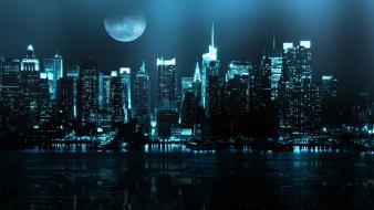 Moon buildings new york city lakes cities wallpaper