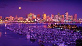 Moon cityscapes night wallpaper