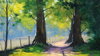 Paintings landscapes nature trees fences between Wallpaper