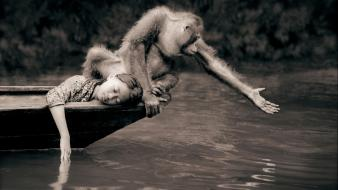 Sepia boats monkeys children gregory colbert wallpaper
