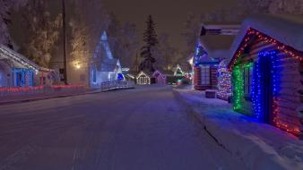 Snow trees streets houses christmas lights evergreens wallpaper