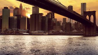 Sun bridges buildings new york city cities wallpaper