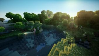 Water sand trees forest grass minecraft pigs realism wallpaper