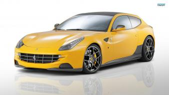 Yellow cars ferrari ff novitec rosso white background wallpaper