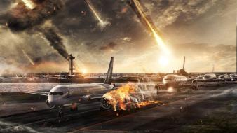 Aircraft airports armageddon asteroids dec meteorite doomsday airfield wallpaper
