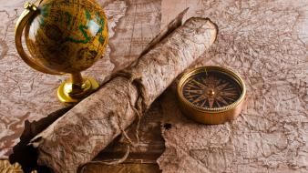 Ancient compasses digital art maps parchments wallpaper