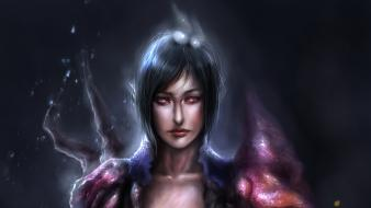 Art armor red eyes artwork black hair wallpaper