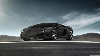 Black cars lamborghini aventador supercar Wallpaper