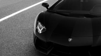 Cars monochrome lamborghini aventador races Wallpaper
