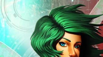 Cleavage fantasy art short hair green artwork wallpaper