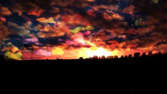 Clouds landscapes black orange colors skyland sundown wallpaper