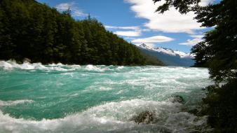 Clouds landscapes nature white forests rivers patagonia wallpaper