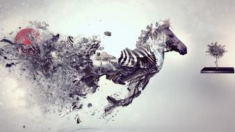 Digital zebras art artwork zebra stripes wallpaper
