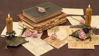 Flowers vintage old books letters candles roses wallpaper