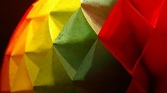 Green red yellow papercraft colors minmalism wallpaper