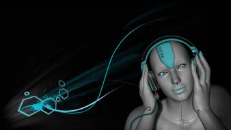 Headphones music digital art artwork wallpaper