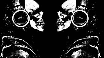 Headphones skulls music dark wallpaper