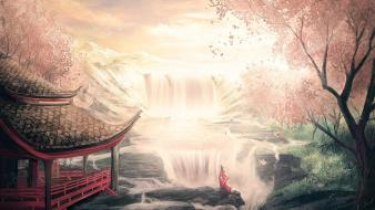Japan landscapes asia oriental waterfalls wallpaper