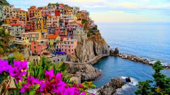 Landscapes houses rocks stones boats italy sea beach wallpaper