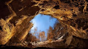 Landscapes nature trees window cliffs cavern wallpaper