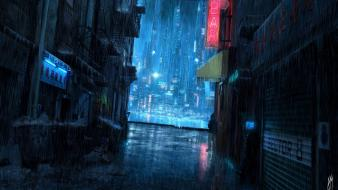 Light blue rain signs buildings cities street upscaled wallpaper