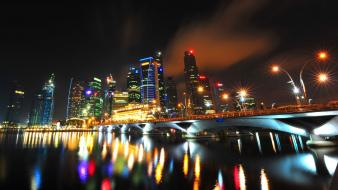 Light cityscapes singapore wallpaper