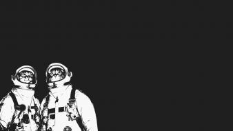 Minimalistic cats space suit simple background wallpaper